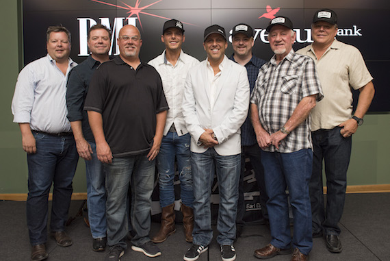 "BMI's Bradley Collins, writers Frank Rogers, ?, Granger Smith, Wheelhouse Records' Jon Loba, Warner Chappell's Ben Vaughn, Wheelhouse Records' Benny Brown and BMI's David Preston gather for a photo at Granger Smith's ""Backroad Song"" #1 celebration at BMI on June 13, 2016, in Nashville, TN. (Erika Goldring Photo)"